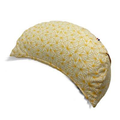 demi-lune-coussin-de-meditation-origamie-jaune-et-blanc-fabrication-francaise-devant
