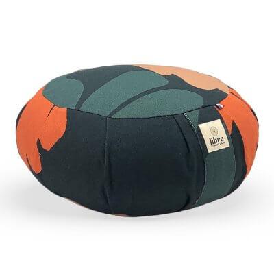 zafu-coussin-de-meditation-grandes-feuilles-orange-vert-fonce-fabrication-francaise